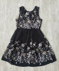 Yellow Star Womenand039s Dress Color Black With Print Floral Size Large