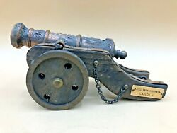 Vintage Artilleria Imperial Carlos I Wood / Brass Miniature Display Cannon