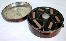 Vintage Rare Covered Wagon Era Round Metal Carrier 6 Spice Tins + Center Grater