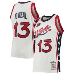Usa Basketball Shaquille O'neal Mitchell Ness White Dream Team Authentic Jersey