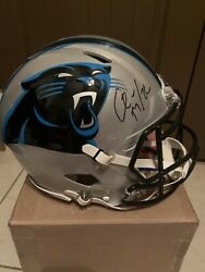 Christian Mccaffrey Signed Panthers Full Size Speed Authentic Helmet Bas
