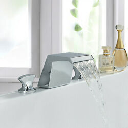 Widespread Bathroom Sink Faucet Basin 3 Hole Chrome Waterfall Vanity Mixer Tap