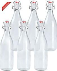 Ilyapa 32 Ounce Clear Swing Top Glass Beer Bottles For Home Brewing - Carbonated