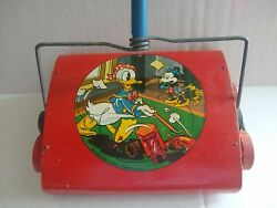 Vintage Donald Duck Toy Litho Disney Metal Carpet Sweeper Toy 1940 Ohio Art Red