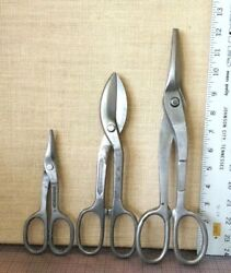 Vintage -- Midwest Tin Snips -- Set Of 3 -- Sheet Metal Shears Stamped Midwest