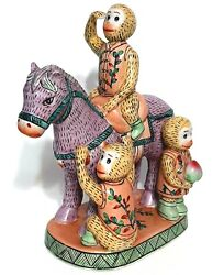 Vintage Chinese Chinoiserie Statue Three Monkeys On A Horse Figurine