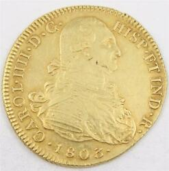 1803 Colombia 8 Escudos Gold Coin P Jf Km62.2 Complete Edge Milling Au
