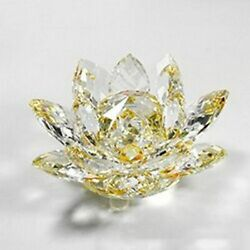 Topaz Collectible Crystal Glass Lotus Figurines Paperweight Fengshui Accessories