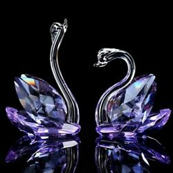 One Pair Crystal Glass Swan Figurines Paperweight Art Collection Home Decoration