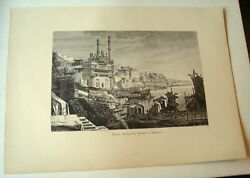 1889 Wood Engraving Alamgir Mosque By The Ganges India Old Benares City Inv10