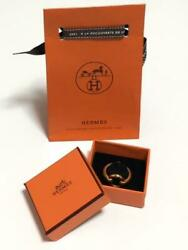Hermes Accessory Scarf Ring New Unused Gold Size 2.7cm With Box Fashion Jewelry