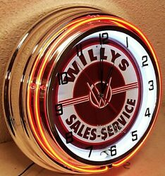 19 Willys Sales And Service Sign Orange Double Neon Clock