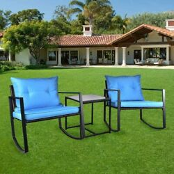 3pcs Patio Rocking Wicker Bistro Set With Cushion Outdoor Rattan Chair Table Set