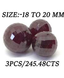 245.48 Ct Natural Ruby Faceted Round Ball 3 Piece Set Big Size Ruby Beads -5132