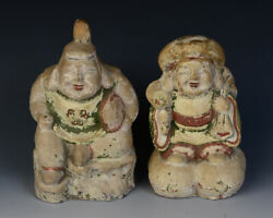 Early 20th Century, Showa, A Pair Of Antique Japanese Pottery Figures