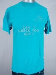 Hd1702 1980s Vintage Can I Check You Out Funny T-shirt - 38