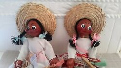 Vintage Set Of 2 Mexican Marionette Puppet String Doll Red Cheeks Pre-owned