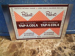 Vtg 1950s Pabst Non Fattening Tap A Cola 10oz Soda Can Unrolled Sheet Mira Co