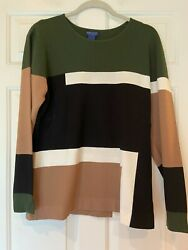 Doncaster Sweater Color Block Lightweight Shirt Green Black Size 1w L Christmas