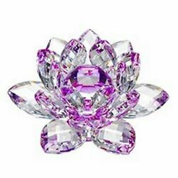 Crystal Lilac Lotus Flower Glass Paperweight Fengshui Ornaments Figurines Crafts