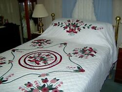 Queen Amish Hand Made Lily Of The Valley Appliqued Quilt 96x111