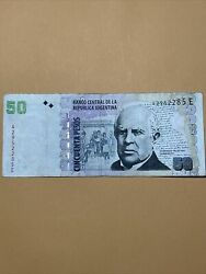 Argentina 50 Pesos Current Circulated Paper Money - Scarce Early Type - Series E
