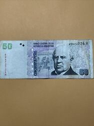 Argentina 50 Pesos Current Circulated Paper Money - Scarce Early Type - Series H