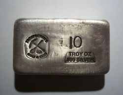 Prospector's Gold And Gems 10 Oz Silver Bar Hand Poured Loaf Bullion Small Logo