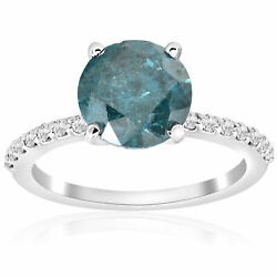 3 1/5ct Blue Diamond Engagement Ring 14k White Gold Solitaire Solitaire Jewelry