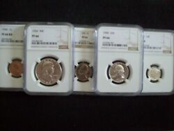 Bodacious 1950 5 Piece Franklin Proof Set Certified Proof 66 By Ngc Wow