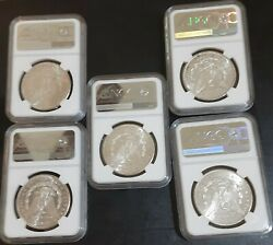 Morgan Silver Dollar Lot Of 5 1878 -s Ngc Ms62 Mostly White Investment Lot