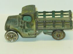 Vintage Green Cast Iron Stake Truck, Toy Vehicle Gc1