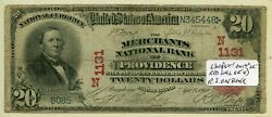 Fr. 639 1902 Rs 20 Ch 1131 National Bank Note Providence Rhode Island Vg