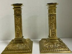 Pair Of French Antique Bronze Candlesticks Cherubs - Louis Xiv - Signed