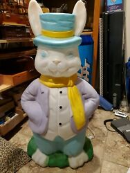 Empire Blow Mold Easter Mr Bunny Rabbit Yard Decoration 34 Lighted Works