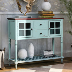Retro Console Table For Entryway Buffet Sideboard W/drawersandshelf Antique Blue
