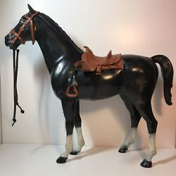 Vintage Black Thunderbolt From Johnny West By Marx With Saddle, Bridle, Reins