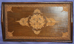 Vintage Hand Carving Wood Serving Tray