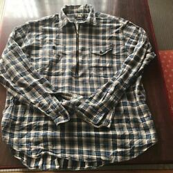 Rrl Half-zip Pullover Long Sleeve Check Shirt Size Xl Cotton Used