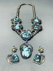Very Rare Mine Vintage Navajo Turquoise Sterling Silver Necklace Old