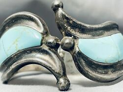 One Of The Best Vintage Mexican/ Navajo Turquoise Hinge Sterling Silver Bracelet