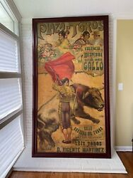 Large Vintage 1918 Painted Spanish Bullfight Poster. Beautiful Colors.