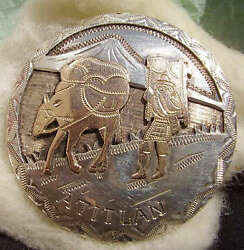 Antique Pin 900 Silver And Gold Ish Memorabilia Textiles Pin Miner And Pack Mule