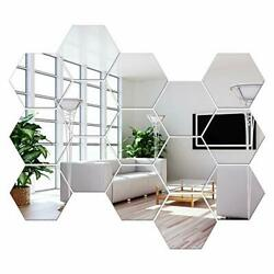 Removable Large Size Acrylic Hexagon Mirror Wall Sticker, Self-adhesive Tiles