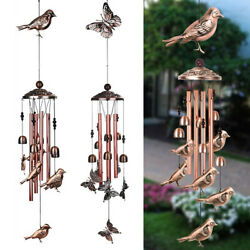 Large Wind Chimes Bells Copper Tubes Outdoor Garden Home Hummingbird Butterfly