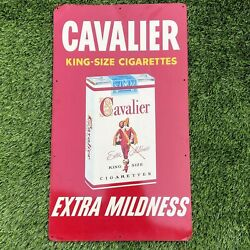 Vintage Cavalier King Size Cigarettes Metal Tin Advertisement Sign 1950and039s Rare
