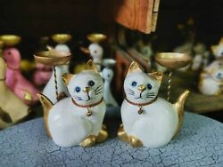 Wooden Cat White Hand Carved Statue Figurine Crafted Wood Leg Walking Home Decor