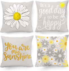 Decorative Pillow Covers 18x18 Sunflower Room Decor Yellow and Grey Set of 4