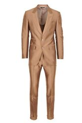 Tom Ford Suit Menand039s 46 R Light-brown Regular Fit Twill