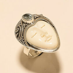 Indonesia Bone Face Ring 925 Sterling Silver Aquamarine Valentine Jewelry Gifts